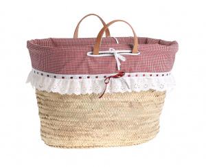 Coșuleț de damă Kbas din fibre de paie, căptușeală cu model roșie 087150-2