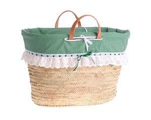 Coș din paie Kbas cu căptușeală verde și dantelă
