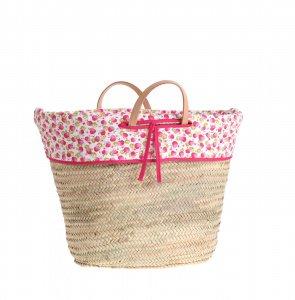 Košík z palmové slámy Kbas se vzorovanou podšívkou a koženými ručkami 087153