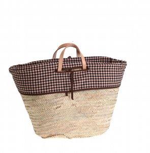 Kbas košík z palmové slámy se vzorovanou podšívkou a koženými ručkami 087154