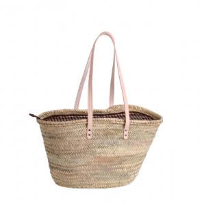 Coșuleț din fibre de palmier Kbas natural cu căptușeală, fermoar și mânere lungi din piele 087155