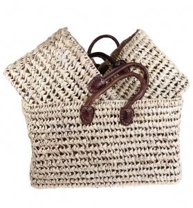 Set slamené košíky Kbas s hnedými koženými rúčkami 3 ks