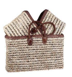 Set 3 slaměných košíků Kbas s koženými oušky a okrajem 087158
