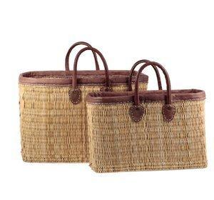 Set 2 prútených košíkov Kbas s koženými popruhmi a okrajom 087167