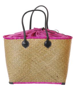Coșuleț din fibre de palmier Kbas pentru dame, cu căptușeală roz 087171G