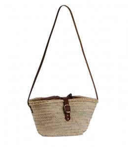 Kbas košík z palmovej slamy cez rameno s podšívkou a koženou prackou 087197