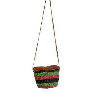 Dámska kabelka cez rameno z palmovej slamy Kbas Keňa s pásikmi farebná malá 087206-2