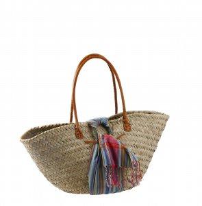 Kbas košík z palmovej slamy zdobený bavlneným viacfarebným šálom a koženými rúčkami 087208