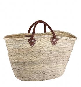 Coş palmier din paie Kbas cu mânere din piele naturală 087232
