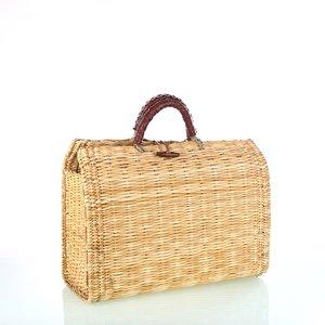 Dámsky košík Kbas zo slamy s koženými rúčkami svetlý 087269