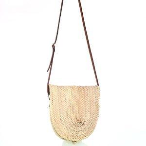 Dámska slamená kabelka na rameno Kbas s koženým popruhom natural 087277