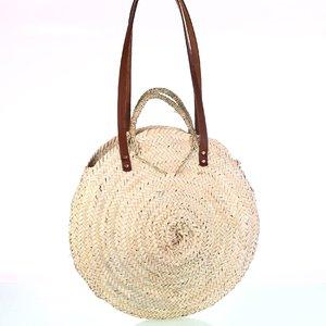 Košík z palmovej trávy okrúhly s koženými rúčkami Kbas KB087281