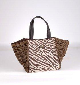 Dámska taška zo sušenej rafie a plátna Kbas so vzorom zebry hnedá 215612M