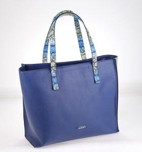 Kabelka z nepromokavého materiálu Kbas s ozdobnými držadly modrá 328609AZ
