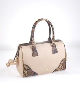 Elegantná kabelka z eko kože Kbas s krokodílím motívom béžová