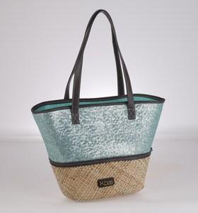 Dámska taška zo syntetickej rafie Kbas s flitrami tykysová 255601TU