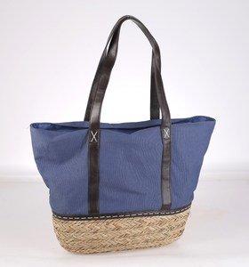 Kbas taška zo sušenej slamy/rafie v kombinácii s plátnom modrá 308610AZ