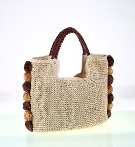 Dámska taška zo syntetickej rafie Kbas s brmbolcami hnedá 112706