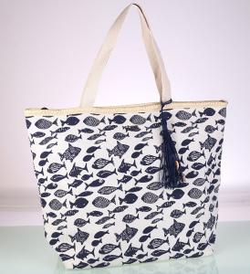Dámská plátěná taška na pláž Kbas s potiskem modrá 112719AZ