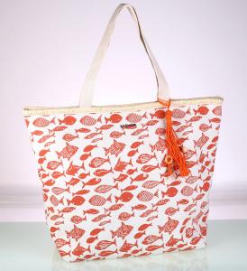 Dámská plátěná taška na pláž Kbas s potiskem oranžová 112719TA