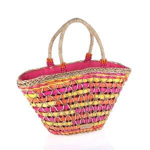 Košík z kukuričného šúpolia a palmovej trávy so zipsom Kbas ružový KB112905FX