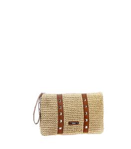Kbas kabelka náramková zo sušenej slamy/rafie krémová 147319C