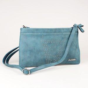Listová kabelka z eko kože Kbas zdobená nitmi modrá