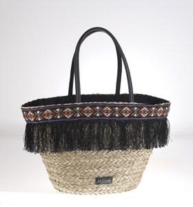 Košík z morskej trávy Kbas lemovaný ozdobnými strapcami čierny 309614