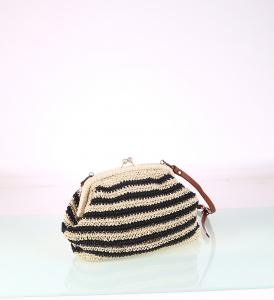Dámska kabelka zo syntetickej rafie Kbas s uzatváracím rámikom čierna 147706N