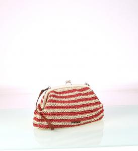 Dámska kabelka zo syntetickej rafie Kbas s uzatváracím rámikom červená 147706R