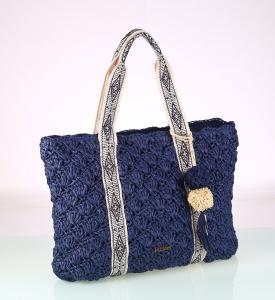 Dámska taška zo syntetickej rafie Kbas so vzorovanými ramienkami modrá