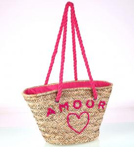 421cd63ab CHCEM KÚPIŤ · Slamený košík Kbas s nápisom amoor ružový