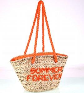 Slamený košík Kbas s nápisom summer forever oranžový