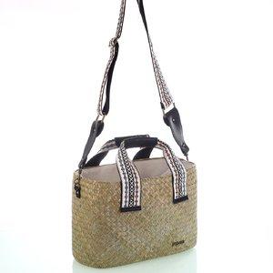 Dámska taška zo slamy na rameno so vzorovanými látkovými popruhmi Kbas biela 147811