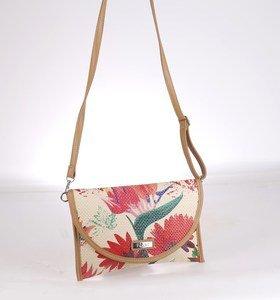 Listová kabelka cez rameno zo syntetickej rafie Kbas kvetinová