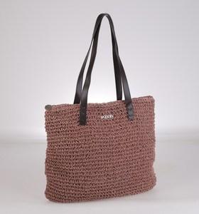 Taška zo syntetickej rafie Kbas s koženými rúčkami a uzatváraním na zips ružová 112608RP