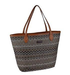 Kbas taška zo sušenej slamy/rafie vzorovaná s koženými rúčkami hnedá 255504M