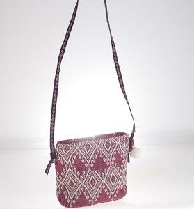 Kabelka cez rameno z plátna Kbas s aztéckym vzorom borodová