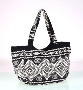 Plátená taška Kbas s aztéckym vzorom čiernobiela
