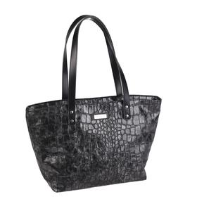 Elegantná kabelka z eko kože Kbas s krokodílím vzorom lakovaná sivá