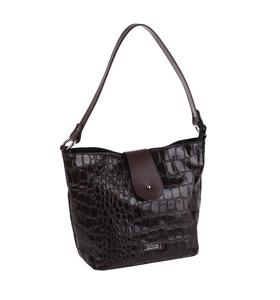 Elegantná kabelka z eko kože Kbas s krokodílím vzorom a prackou hnedá