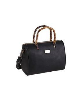 Elegantní kabelka z nepromokavého materiálu Kbas s bambusovými držadly černá 222512N