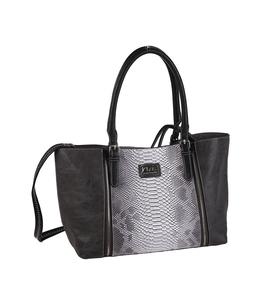 Elegantná kabelka z eko kože Kbas s hadím vzorom tmavošedá