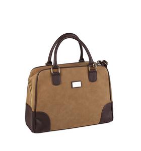 Elegantní semišová kabelka se zipem a zdobeným dnem Kbas béžová 222501BE