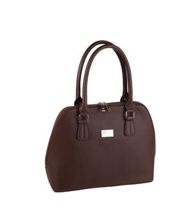 Elegantná kabelka z eko kože Kbas so zipsom hnedá
