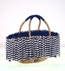 Slamený košík Kbas so strapcami modro-biely