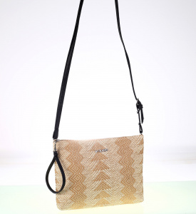 Listová kabelka z PP Kbas cez rameno vzorovaná béžová 165713BE