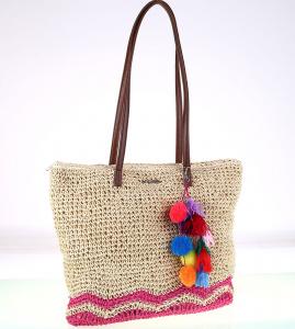 Dámska taška zo syntetickej rafie Kbas so strapcami fuksiová