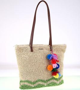 Dámska taška zo syntetickej rafie Kbas so strapcami zelená