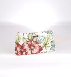Plátěná kosmetická taštička Kbas s květinovým vzorem zelená